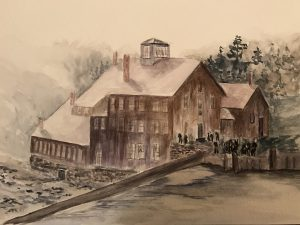 old mill watercolor painting